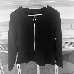 H&M NWOT full zipper blazer w raw hem details L